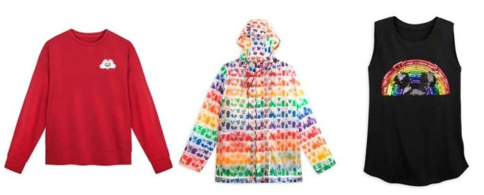 Rainbow Disney Collection items: embroidered fleece pullover, rain jacket, and colorful tank top with a rainbow of sequins