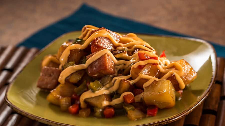 Offerings from Hawai'i Marketplace for the 2020 Epcot Taste of International Food & Wine Festival - Teriyaki-glazed Spam® Hash with Potatoes, Peppers, Onions, and Spicy Mayonnaise