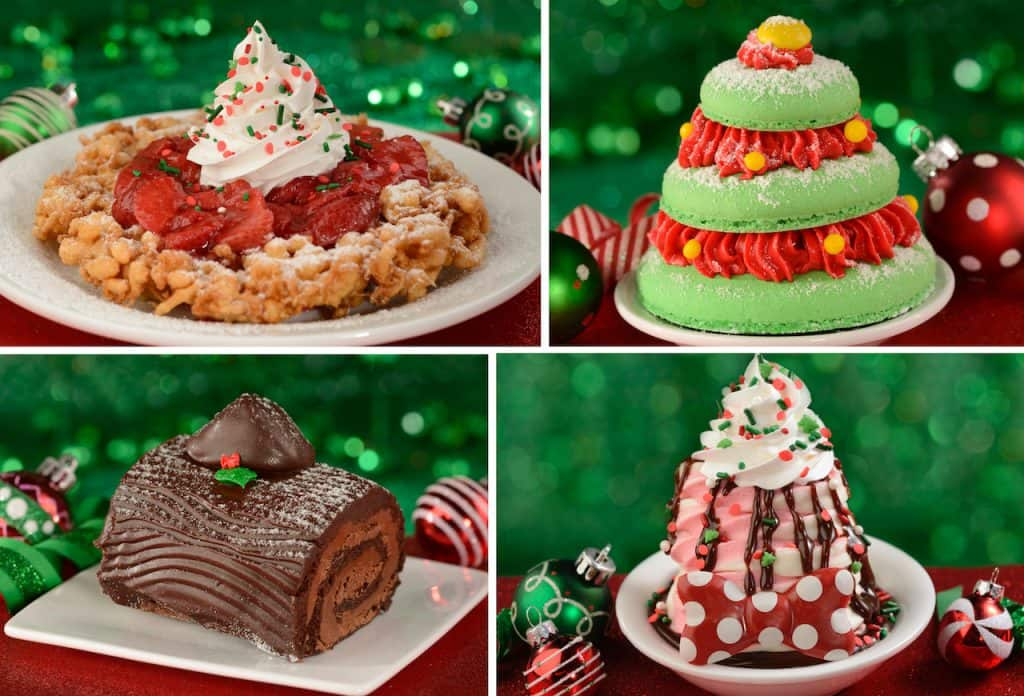 Fa La La La Funnel Cake, Belle's Enchanted Christmas Tree, Yule Tide Wishes and Minnie's Merry Cherry Sundae from Magic Kingdom Park