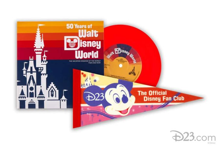 "D23's New Collector Set: Walt Disney World: Then and Now, a ""mini-version"" of the ultimate theme park souvenir: the theme park soundtrack album and full-sized D23 pennant"
