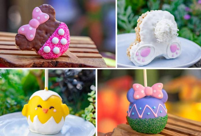 Easter Egg, Bunny Krispy, Easter Minnie Apple and Easter Chick Apple available at Trolley Treats, Disney California Adventure Park and Marceline's Confectionery, Downtown Disney District