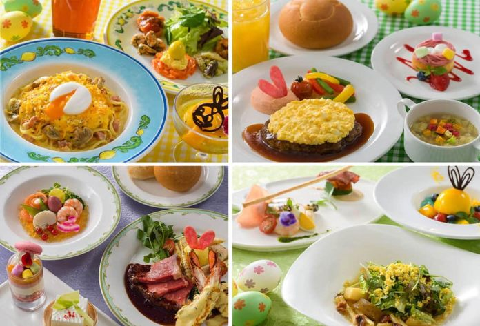 Vegetable Soup with Bacon, Meat Patty with Egg and Teriyaki Sauce, Raspberry Cream Cake available at Horizon Bay Restaurant, Tokyo DisneySea