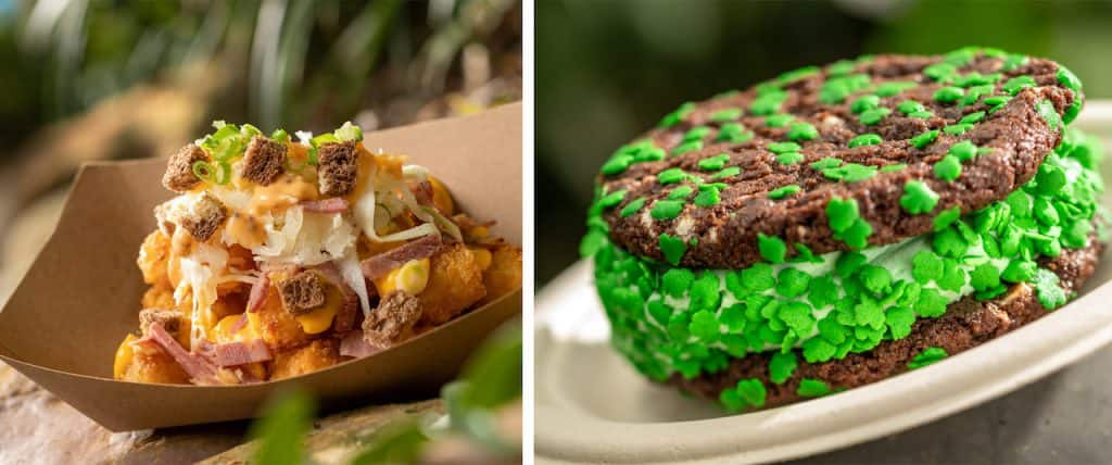 St. Patrick's Day Reuben Totchos from Restaurantosaurus at Disney's Animal Kingdom, and St. Patrick's Day Ice Cream Sandwich from Dino-Bite Snacks at Disney's Animal Kingdom