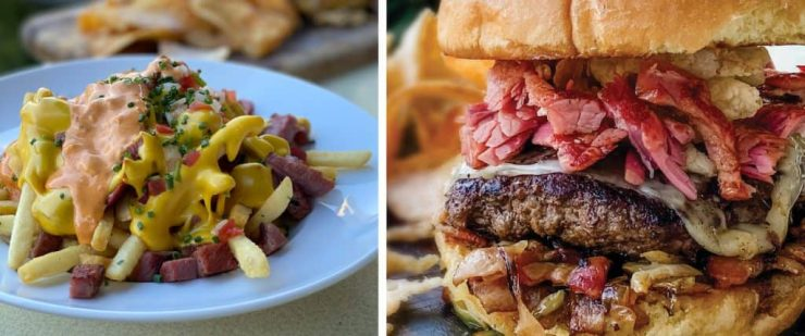 Irish Nachos and Corned Beef and Cabbage Burger from Uva Bar & Café at Downtown Disney District