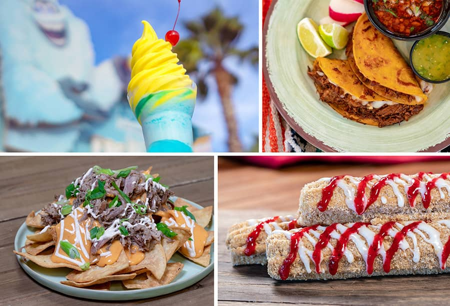 Adorable Snowman Pixar Pier Parfait, Cocina Cucamunga Queso Birra Street Tacos, Studio Catering Co. Pork Nachos, Hollywood Churro Strawberry Cheesecake Chrurro