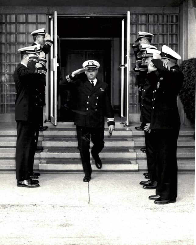 Photo of Alex at his Navy retirement ceremony in 1967