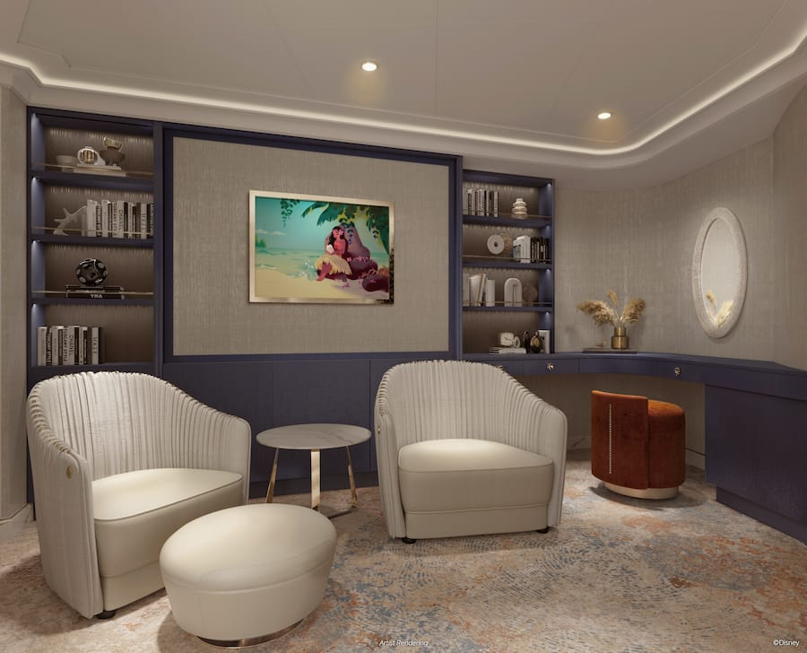 Rendering of the library in the Wish Tower Suite