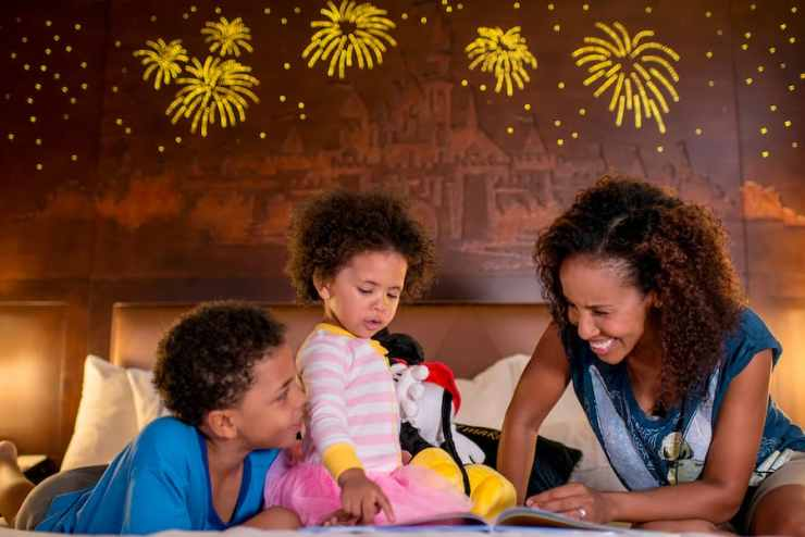"""Headboard that lights up with fireworks and plays, """"A Dream is a Wish Your Heart Makes"""" at the Disneyland Hotel"""