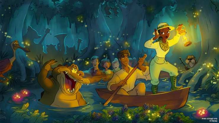 """Artist rendering of """"The Princess and the Frog""""-themed updates coming to Splash Mountains at Walt Disney World and Disneyland Resorts"""