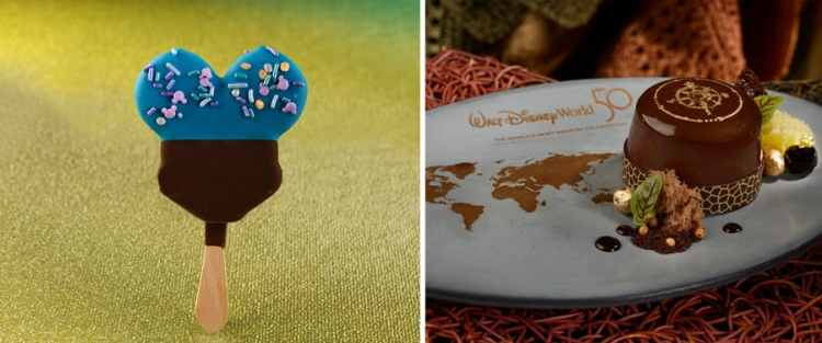 Hand-dipped 50th Celebration Mickey Premium Bar and 50th Celebration Chocolate Gâteaux