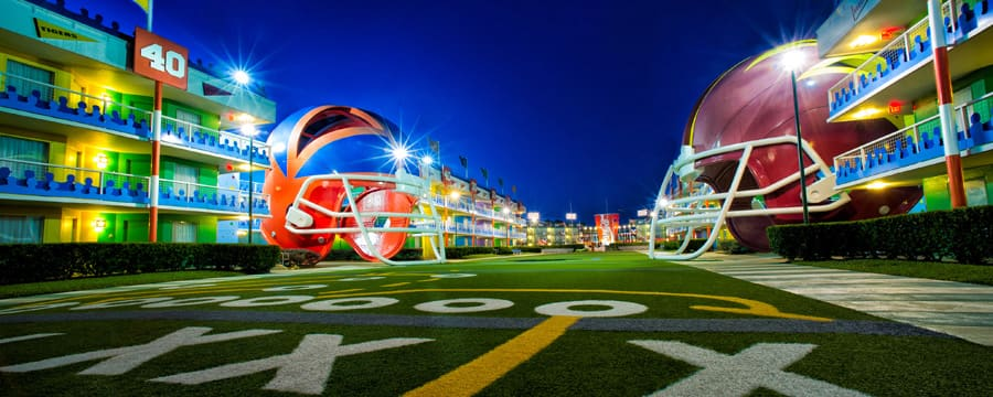 Giant helmets at Disney's All-Star Sports Resort