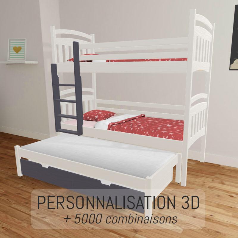 lit superpose 3 couchages joe 3 en bois personnalisable en 3d