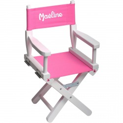 chaise metteur en scene enfant personnalisee blanc rose