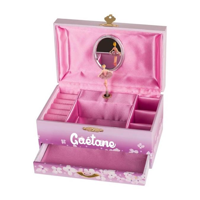 boite a bijoux musicale personnalisee avec tiroir ballerines