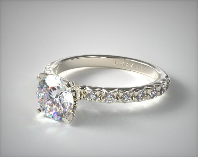 032ct French Cut Pave Diamond Engagement Ring 18K White