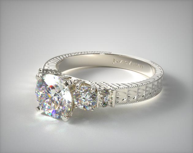 Royal Antique Style Shaped Diamond Engagement Ring 14K