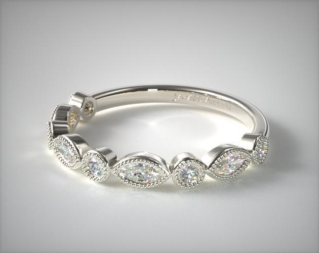 Round And Marquise Diamond Wedding Ring 14K White Gold