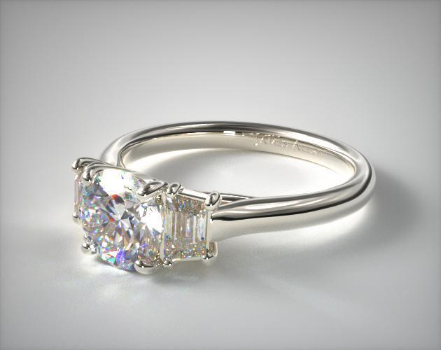 17205W14 Three Stone Trellis Diamond Engagement Ring