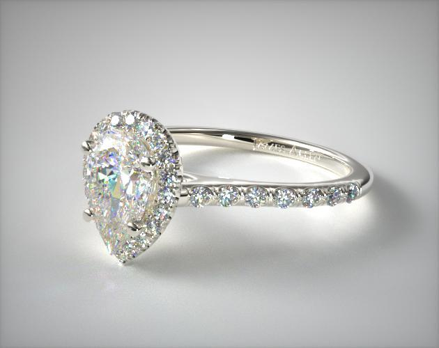 Pave Halo And Shank Diamond Engagement Ring Pear 14K