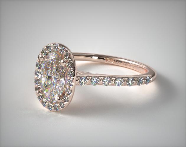 Pave Halo Diamond Engagement Ring Oval Center 14K Rose