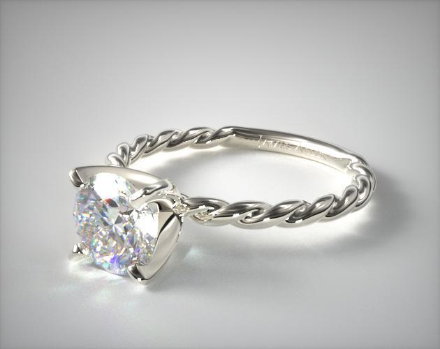 Cable Solitaire Engagement Ring 14K White Gold James