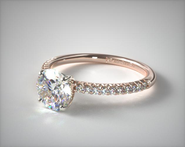 Engagement Rings Pave 14k Rose Gold Petite Pave