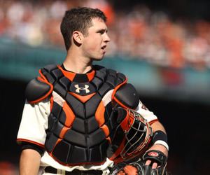 SAN FRANCISCO -:  (FILE PHOTO) Buster Posey #28 of the San Francisco Giants stands on the field during Game Three of the NLCS against the Philadelphia Phillies. (Photo by Ezra Shaw/Getty Images)