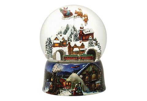 Christmas Snow Globe Music Box Sharper Image