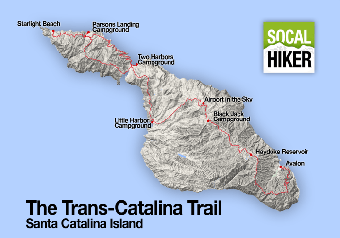 An overview map of the Trans-Catalina Trail