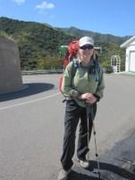 Joan hiking to the trail head
