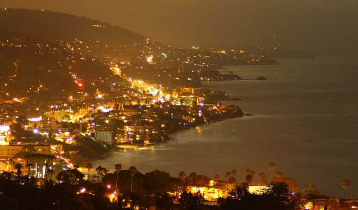 Night time Laguna Beach from Boat Road trail - Photo credit: Elena Northroup