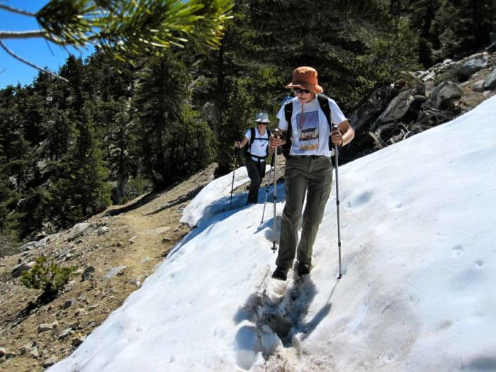 Snow on the trail up to Cucamonga Peak