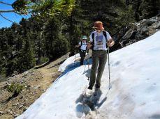 Traversing a Snow Bank on Cucamonga Peak
