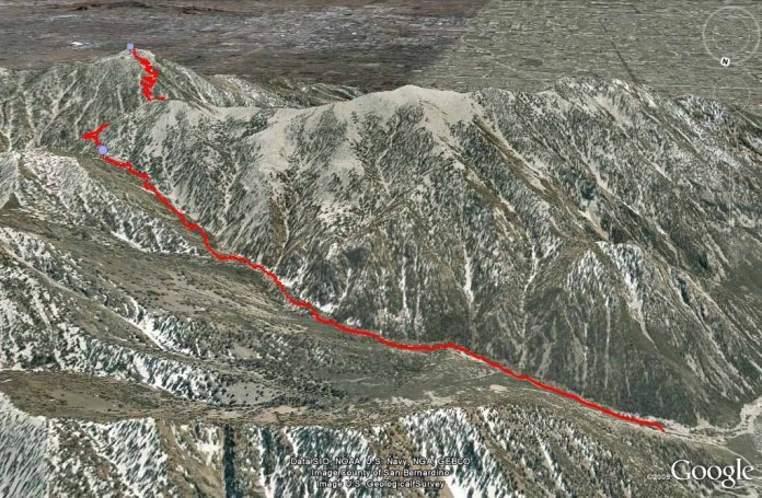 Cucamonga Peak trail on Google Earth