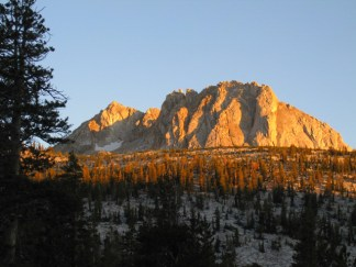 Late evening sun from our secret granite bluff campsite