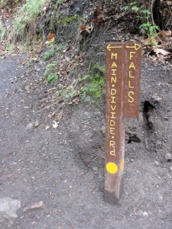 Trail marker to the Holy Jim Falls