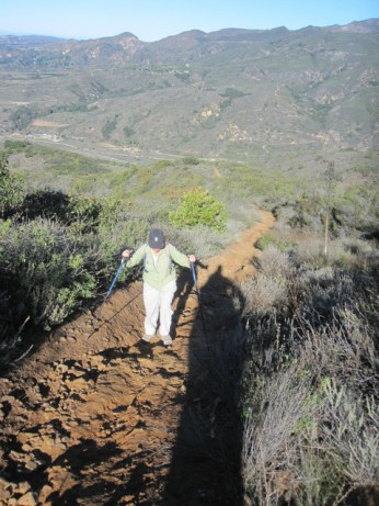 Trekking poles are useful on this trail