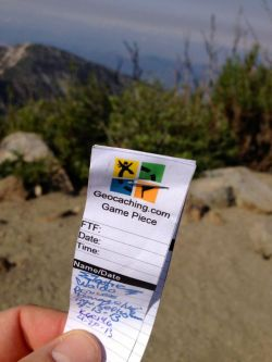 Geocache log on San Gabriel Peak
