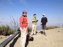 Hikers at the summit of San Gabriel Peak