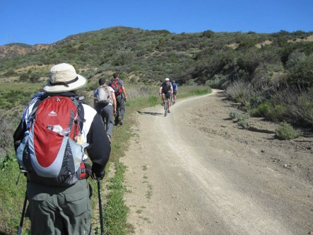 Sharing the Blackstar Canyon trail with mountain bikers