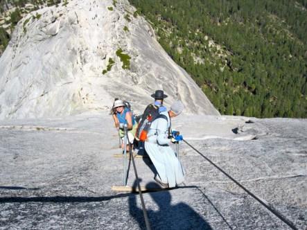 Joan ascending Half Dome cables