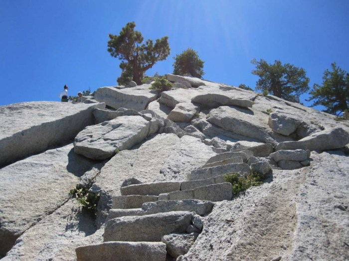 A long, steep section of granite steps