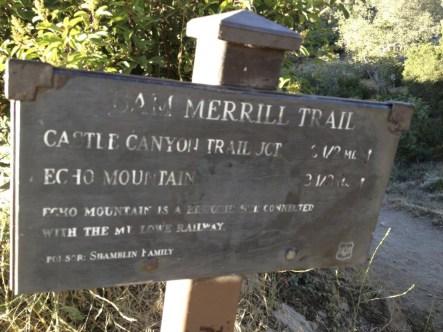 Sam Merrill Trailhead Sign