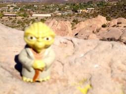 Yoda atop Vasquez Rocks