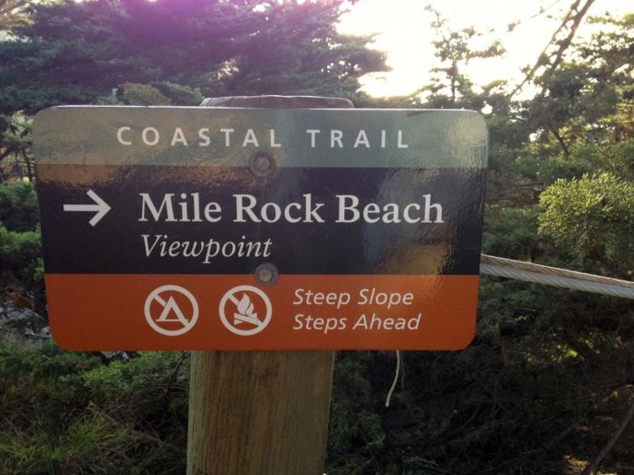 Sign to Mile Rock Beach