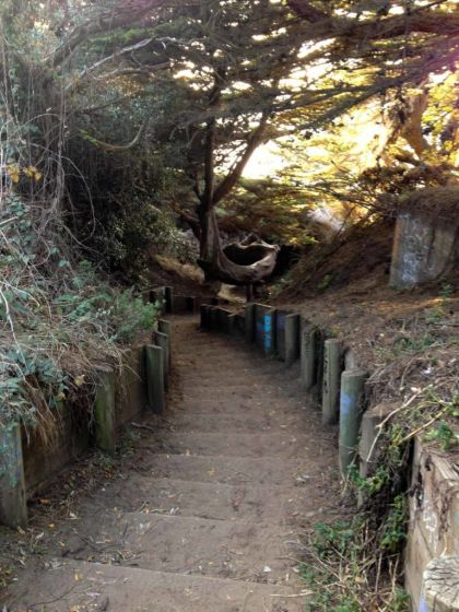 Steps down to Mile Rock Beach
