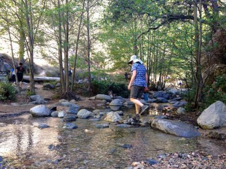 Crossing the creek in Eaton Canyon