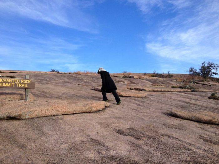 No trail, just head up Enchanted Rock