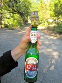 Yoda Relaxes with a Cold Stella After the Hike