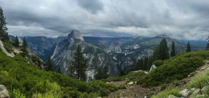 View of Half Dome, Nevada and Vernal Falls from near Glacier Point